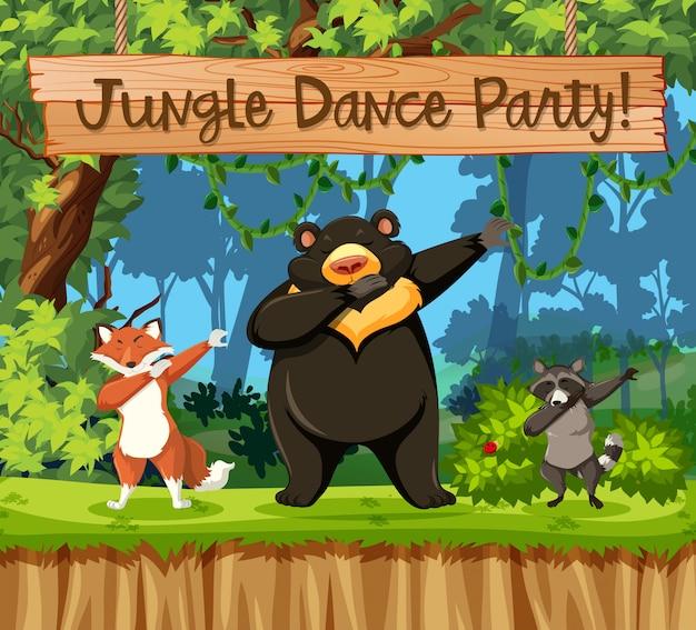 Cena de animais de festa de dança de selva