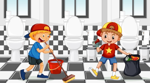 Cena de banheiro público com duas crianças limpando banheiro