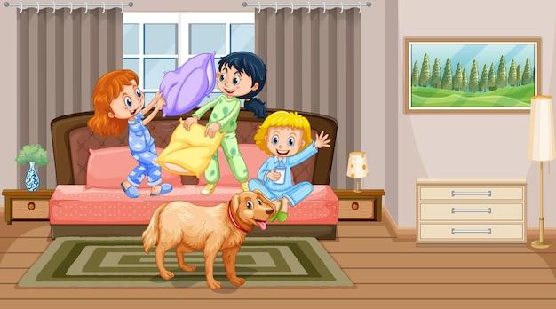 Cena de bedroon com crianças brincando na cama