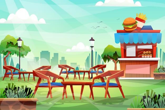 Cena de cadeira de madeira e mesa em parque natural