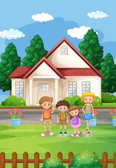 Cena de casa ao ar livre com muitas crianças