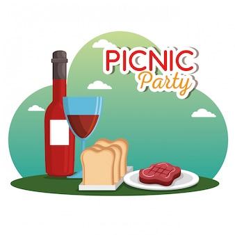 Cena de celebração de festa de piquenique
