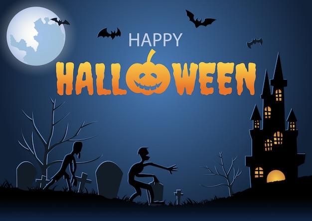 Cena de cemitério e múmia na noite de halloween