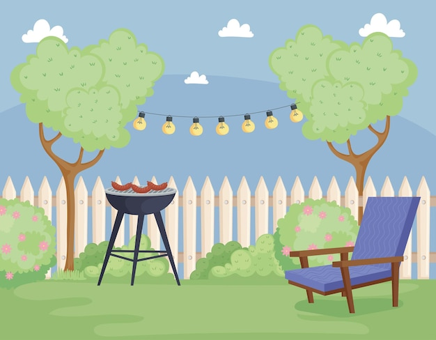 Cena de churrasco no quintal