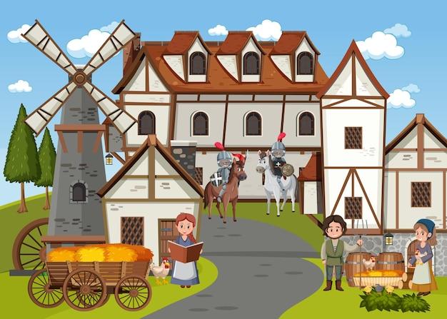 Cena de cidade medieval com moradores