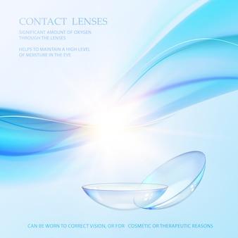 Cena de ciência com sinal de lentes de contato.