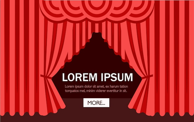 Cena de cinema ou teatro com uma cortina vermelha. ilustração. página do site e aplicativo móvel. lugar para texto