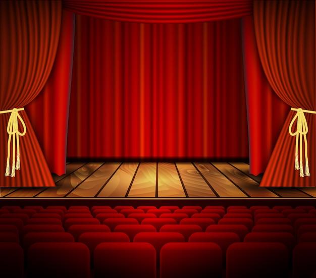 Cena de cinema ou teatro com uma cortina.