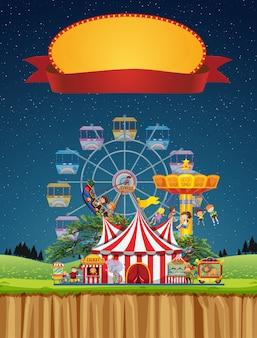 Cena de circo com modelo de sinal no céu