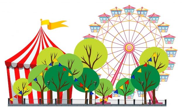 Cena de circo com tenda e roda gigante