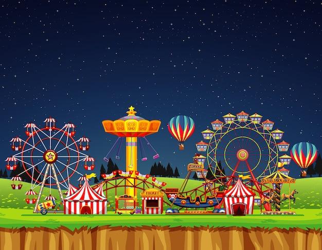 Cena de circo sem pessoas durante a noite