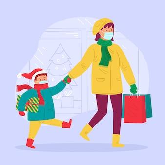 Cena de compras de natal - usando máscaras