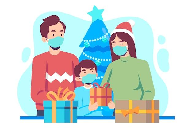 Cena de compras de natal usando máscaras