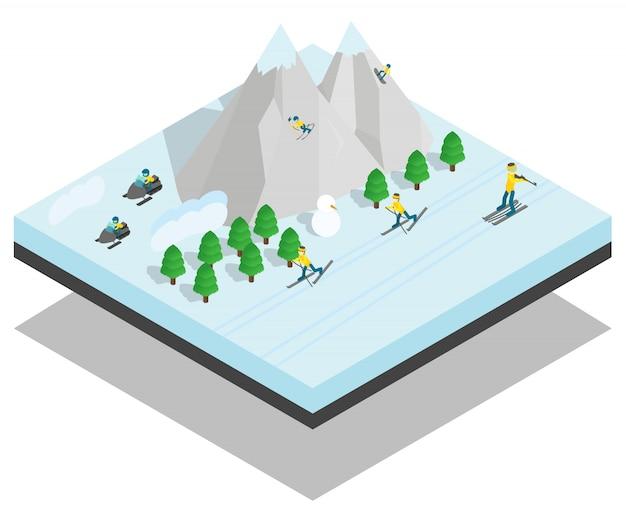 Cena de conceito de esporte de montanha