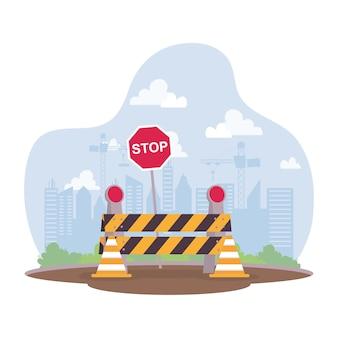 Cena de construção com barricada e design de ilustração vetorial de sinal de parada