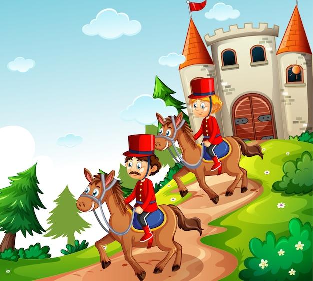 Cena de conto de fadas com castelo e cena de soldado da guarda real