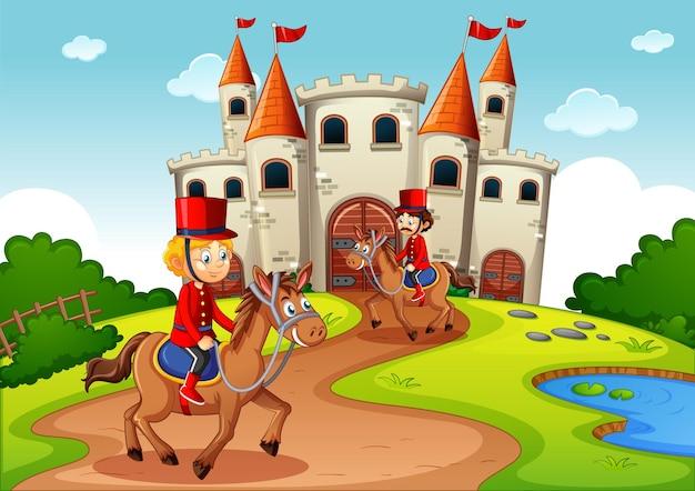 Cena de conto de fadas com castelo e cena de soldado da guarda real Vetor grátis