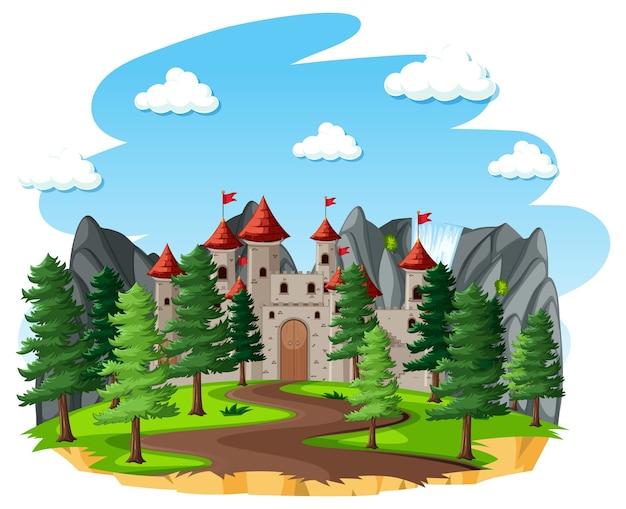 Cena de conto de fadas com castelo ou torre na floresta
