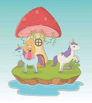 Cena de conto de fadas com fungo e princesa em unicórnio