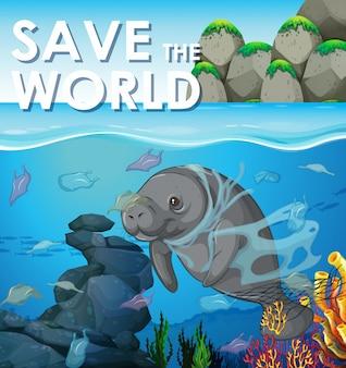 Cena de controle de poluição com peixe-boi debaixo d'água