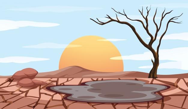 Cena de controle de poluição com terra seca