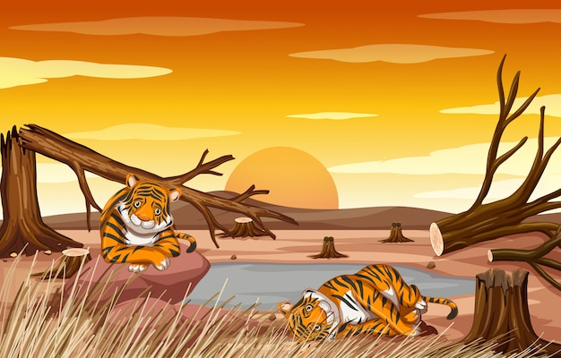 Cena de controle de poluição com tigres e desmatamento