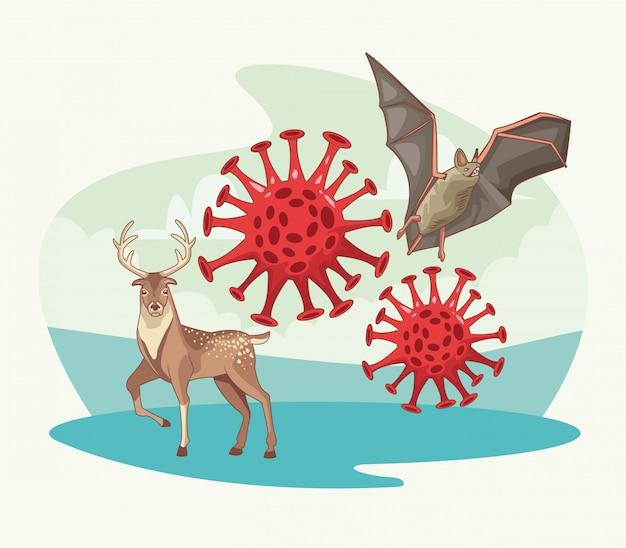 Cena de coronavírus de morcego e rena