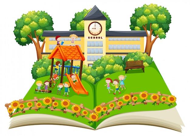 Cena, de, crianças, tocando, em, a, schoolyard, estale cima, livro
