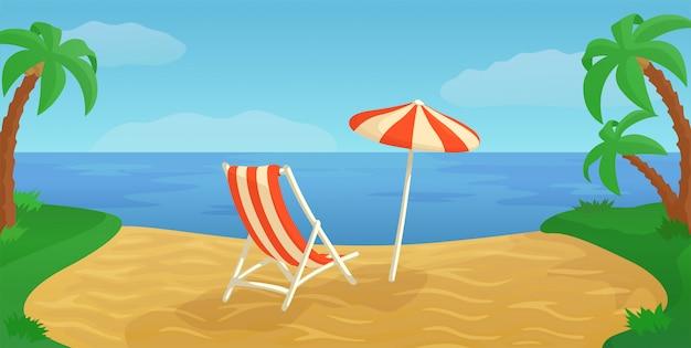 Cena de desenho animado com paisagem exótica praia de areia