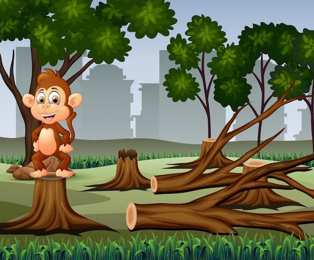 Cena de desmatamento com ilustração de macaco e madeira