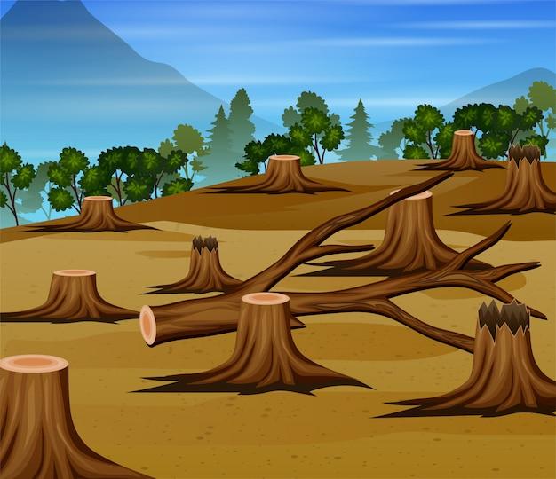 Cena de desmatamento com ilustração de madeiras picadas
