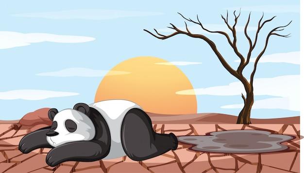 Cena de desmatamento com panda moribundo