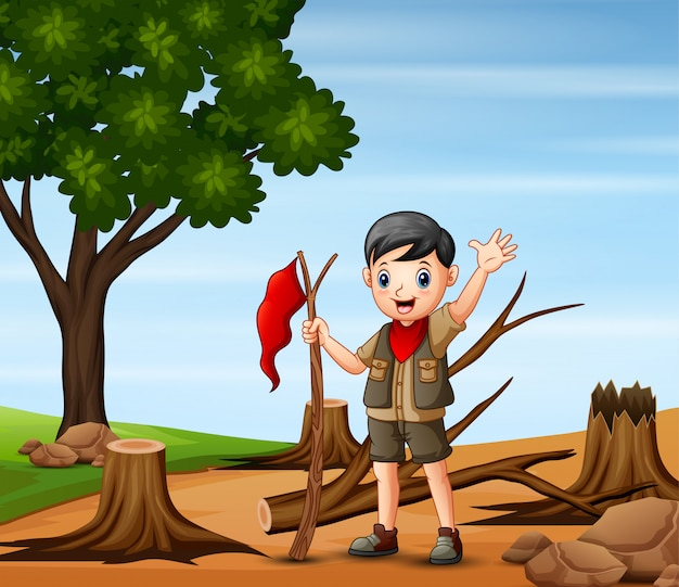 Cena de desmatamento com um escoteiro