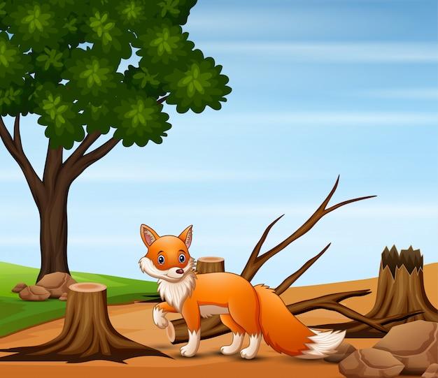 Cena de desmatamento com uma ilustração de raposa