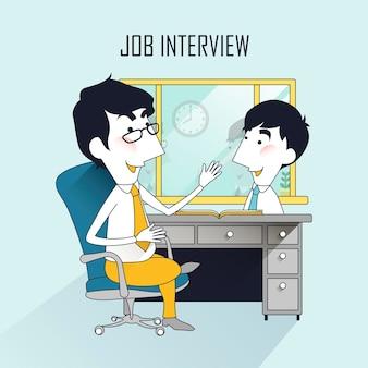 Cena de entrevista de emprego em linha fina
