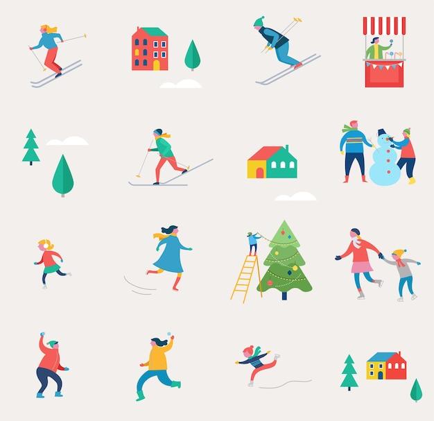 Cena de esportes de inverno, evento de rua de natal, festival e feira, com pessoas, famílias se divertem