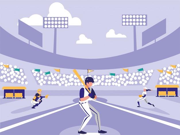 Cena de estádio de esporte de beisebol