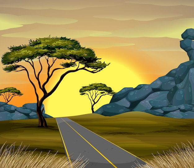 Cena, de, estrada, em, pôr do sol