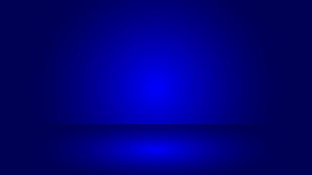 Cena de estúdio azul com fundo de efeito de iluminação de cor gradiente em branco para exibição de produto