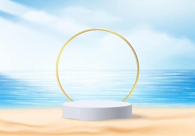 Cena de exibição de produto de fundo de verão 3d com céu azul. display de pódio branco na praia no mar