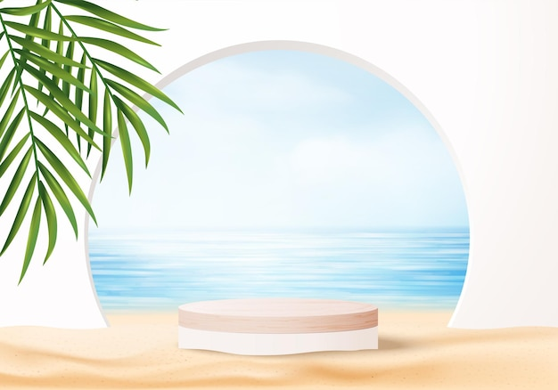 Cena de exibição de produto de fundo de verão 3d com folhas. display de pódio de madeira em nuvem azul do céu