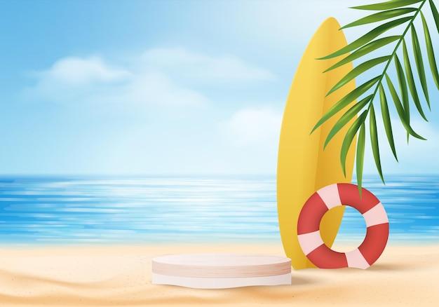 Cena de exibição de produto de fundo de verão 3d com prancha de surf. fundo da nuvem do céu na tela do oceano