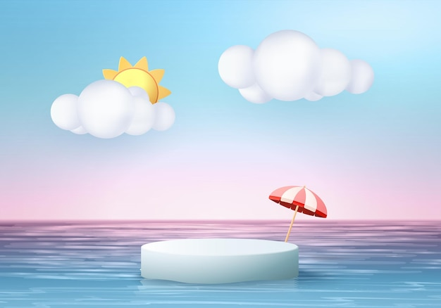 Cena de exibição de produto de fundo de verão 3d com sol e nuvem. display de pódio branco no céu azul do mar