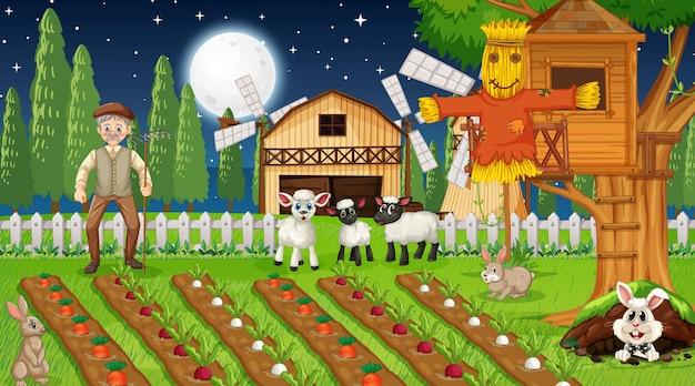 Cena de fazenda à noite com um velho fazendeiro e animais fofos