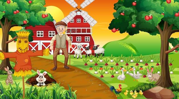 Cena de fazenda ao pôr do sol com um velho fazendeiro e animais fofos