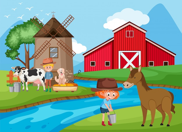 Cena de fazenda com agricultores e animais à beira do rio