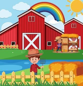 Cena de fazenda com agricultores e galinhas na fazenda