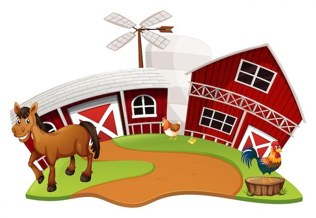 Cena de fazenda com animais da fazenda