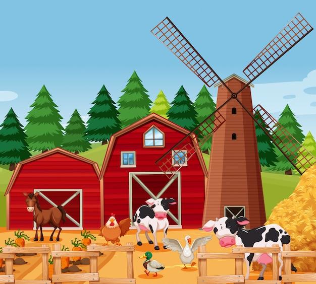 Cena de fazenda com animais