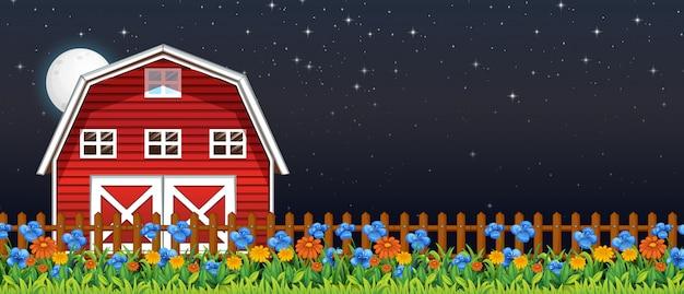 Cena de fazenda com celeiro e flores à noite